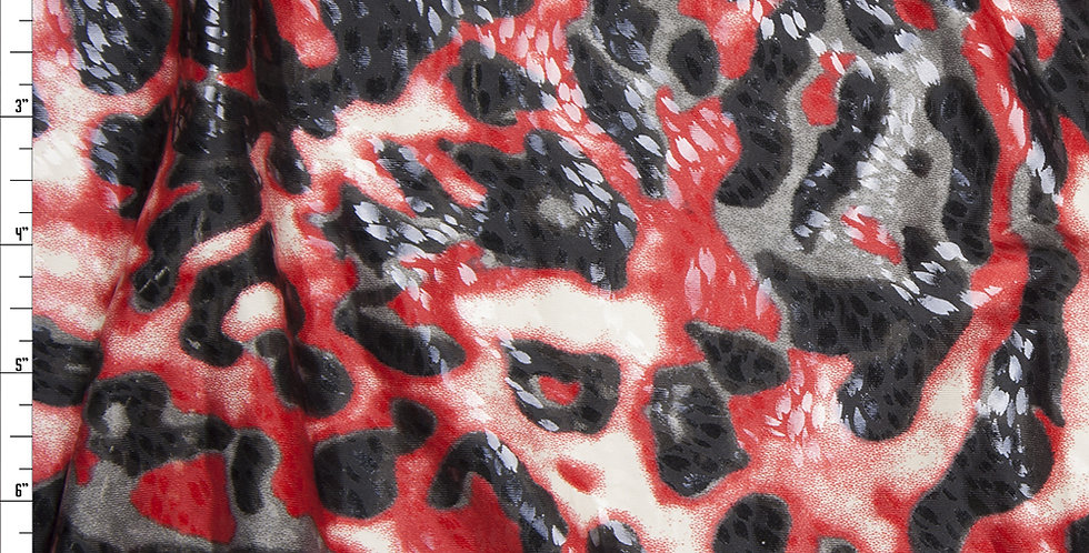 Red Black Leopard Print Gloss