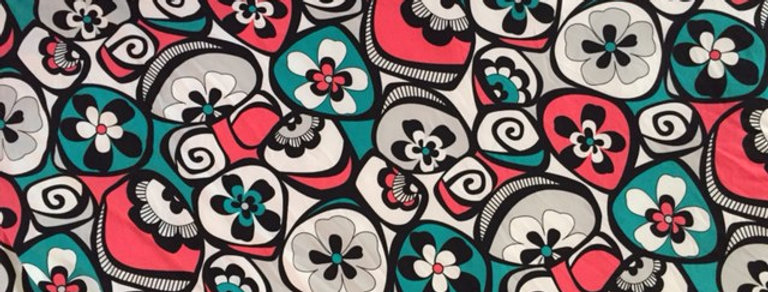 Teal - Coral - White Floral Print Fabric Choice