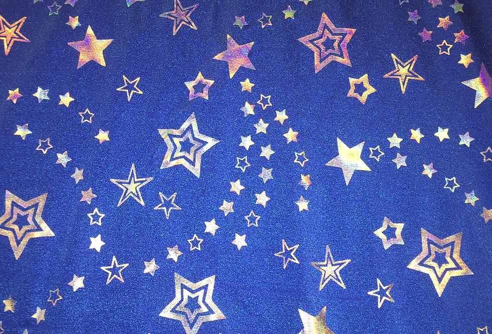 Silver Iridescent Stars on Royal Blue