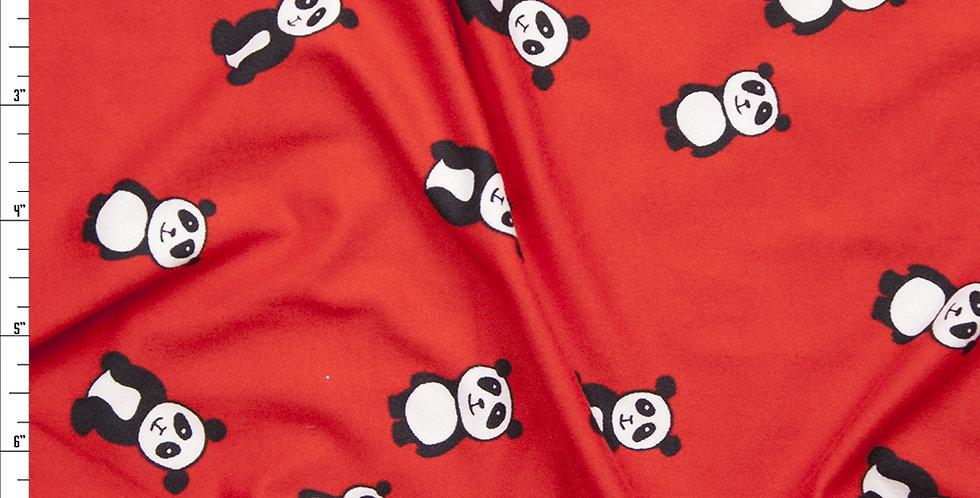 Black & White Panda Bear on Red Print