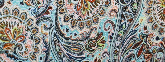 Pink-Blue-Green Floral Paisley Fabric Choice