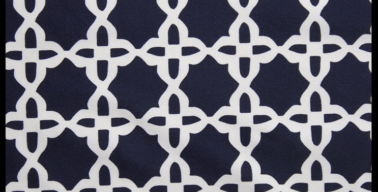 Navy Blue and White Lattice Fabric Choice