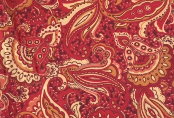 Tangerine, Cherry, Peach, Wine, Butter Yellow Paisley Print Fabric Choice