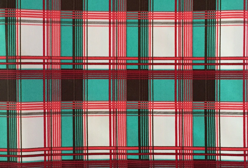 Coral - Brown - Teal - White Plaid Fabric Choice