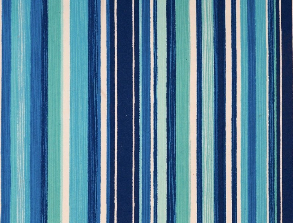 Shades of Blue-Green-White Stripes Fabric Choice