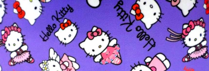 White & Pink Kitties on Purple Fabric Choice