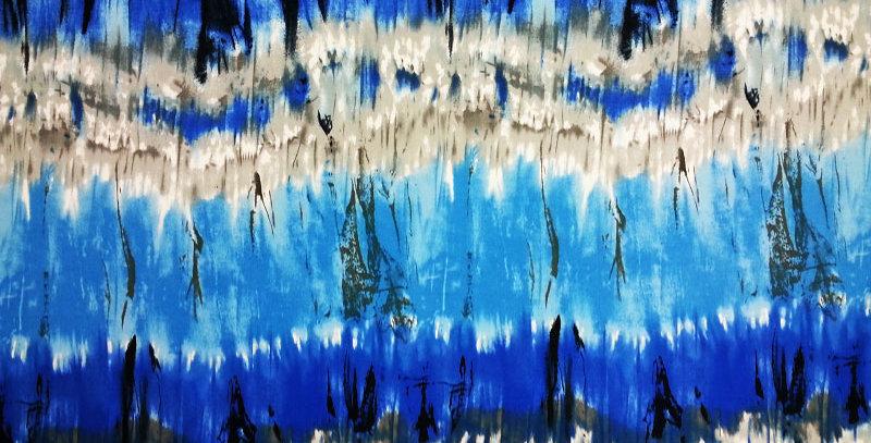 Shades of Blue and Beige Tye Dye Print