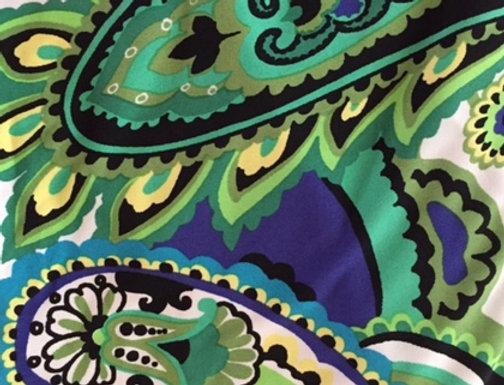 Lime Green - Cobalt Blue- White Paisley(M) Fabric Choice