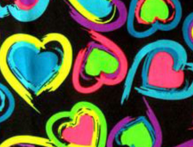 Neon Brights Hearts on Black Fabric Choice