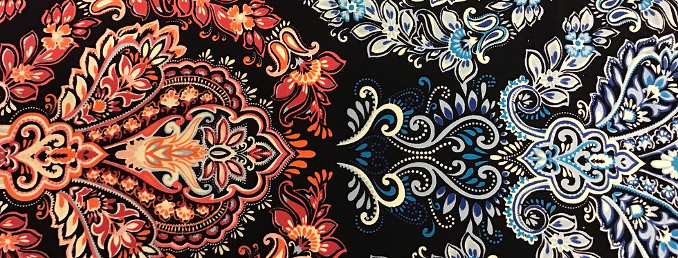 Ornate in Shades of Crimson with Blue Border
