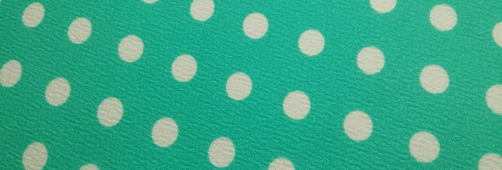 Teal and White Polka Dot Textured Fabric