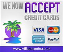 Villa Antonio Lanzarote accepts credit cards