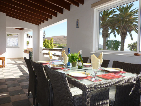 Dine on the covered terrace