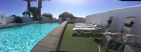 Loungers poolside