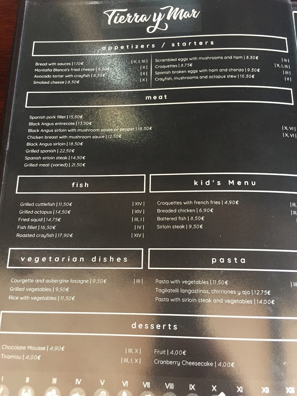 Restaurant menu in Nazaret