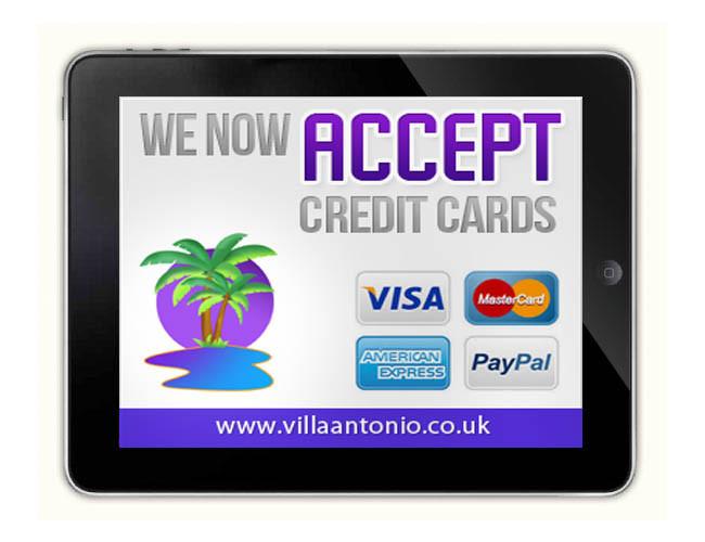 Use credit cards to make payments at Villa Antonio Lanzarote