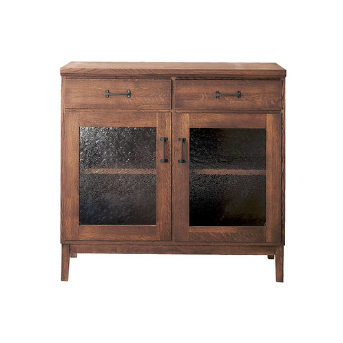 Whisky Oak Low Cabinet (Glass / Wood Door)