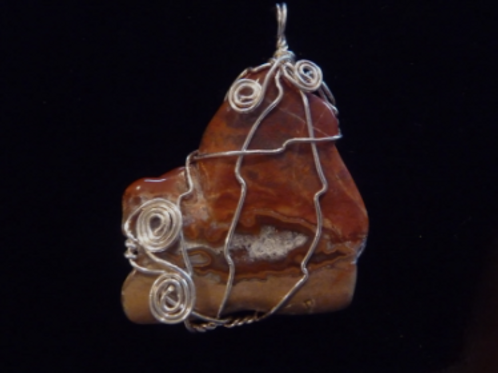 Wire Wrapped Pendant - Rust Agate