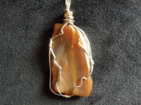 Wire Wrapped Pendant - Light Brown Agate