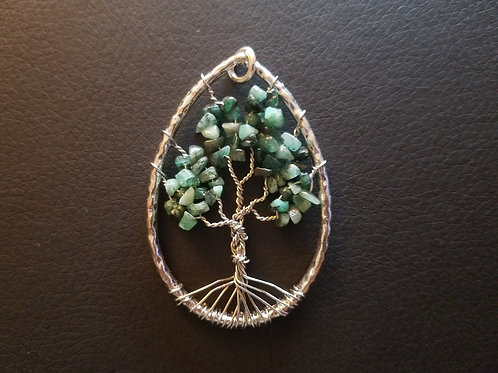 Tree of Life Pendant - Emerald Chips