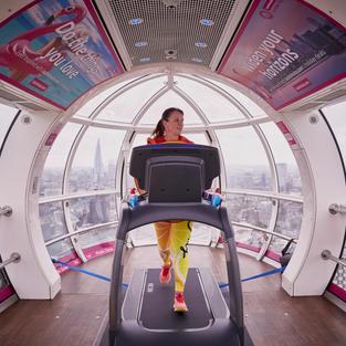 First female to run a marathon in the London Eye