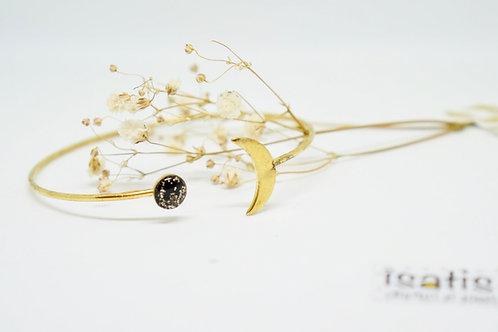 Bracelet rigide lune paillette or et noir