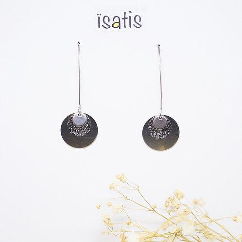 Boucles d'oreilles argenté&Noir Paillettes 01