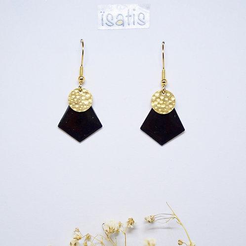 Boucles d'oreilles Losange Noir