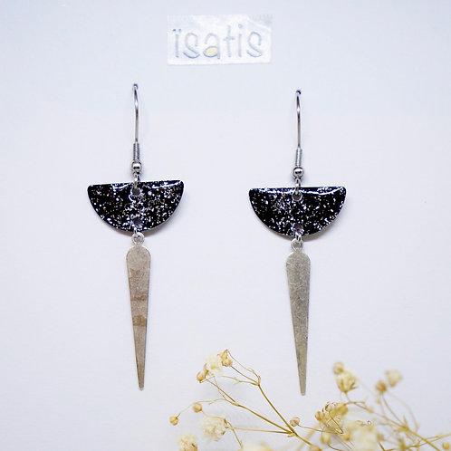 Boucles d'oreilles argenté&Noir Paillettes 06