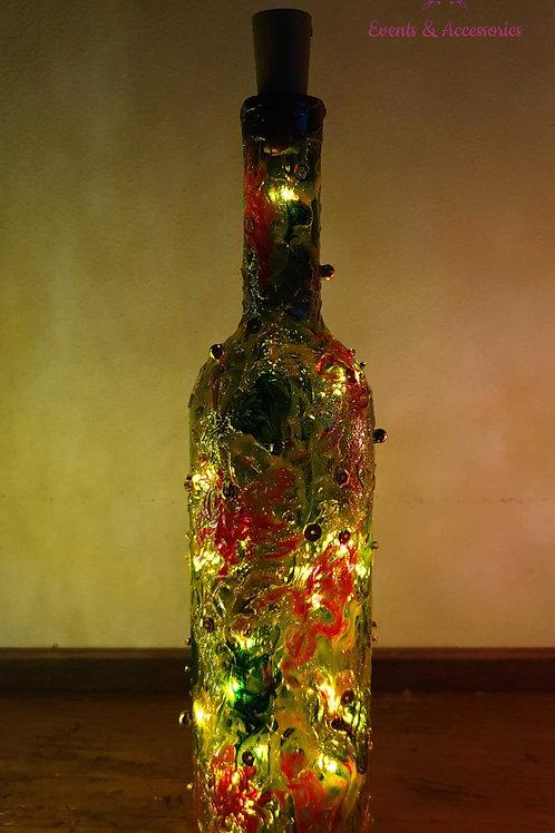 Bottiglia Decorativa con Luce / Verde-Rosso Trasparente