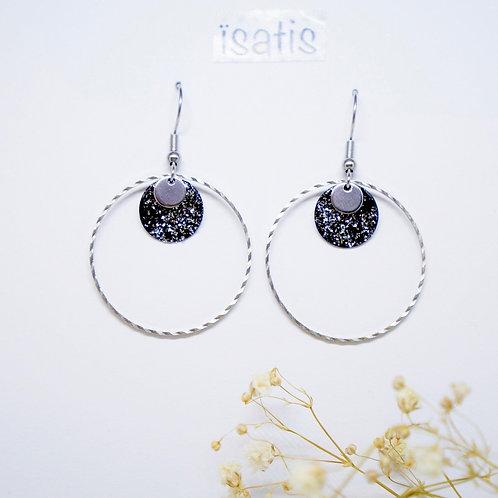 Boucles d'oreilles argenté&Noir Paillettes 02