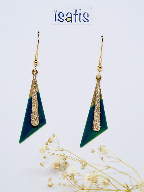 Boucles d'oreilles Triangles Emeraudes