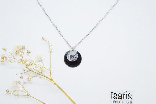 Colliers argentés Paillettes Noir