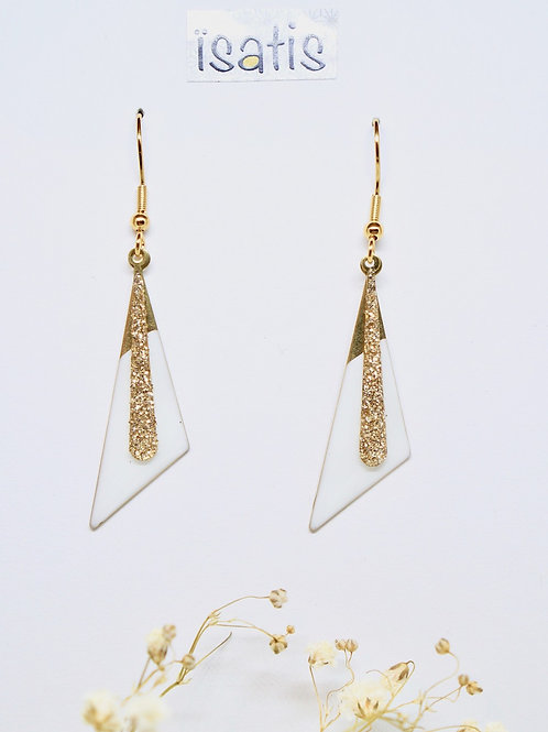 Boucles d'oreilles Triangle Blanches