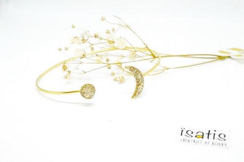 Bracelet rigide lune Paillettes dorées