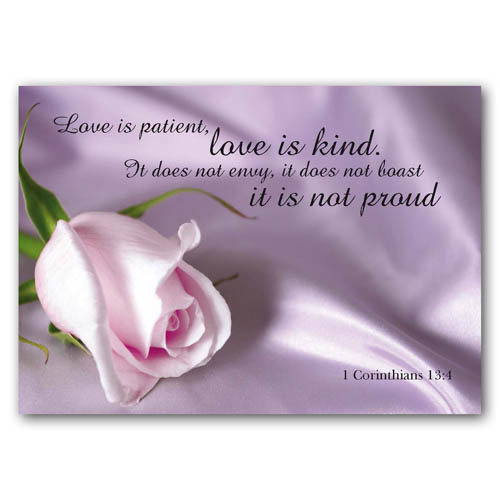 Bible Verse Love Is Patient - Sold in pack (100 postcards)