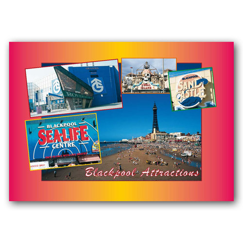 Blackpool Attractions - Sold in pack (100 postcards)