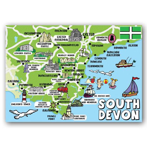 Devon South Map Postcard - Sold in pack (100 postcards)