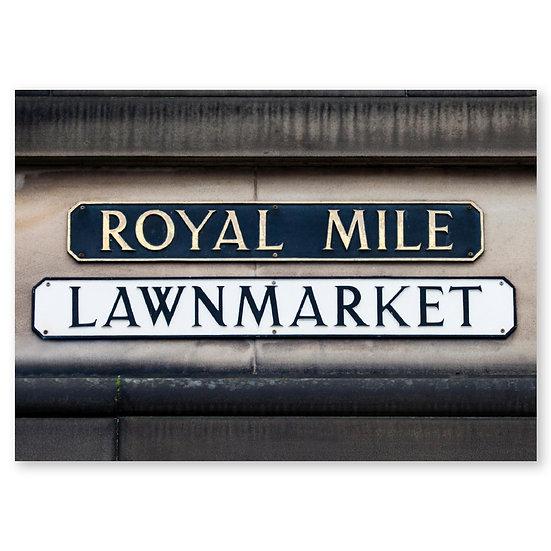 Edinburgh Royal Mile Street Sign - Sold in pack (100 postcards)