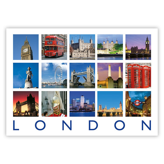 London 15 View Composite - Sold in pack (100 postcards)