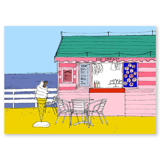 Life's a Beach by Lucy Sheeran : Ice Cream Hut - Sold in pack (100 postcards)