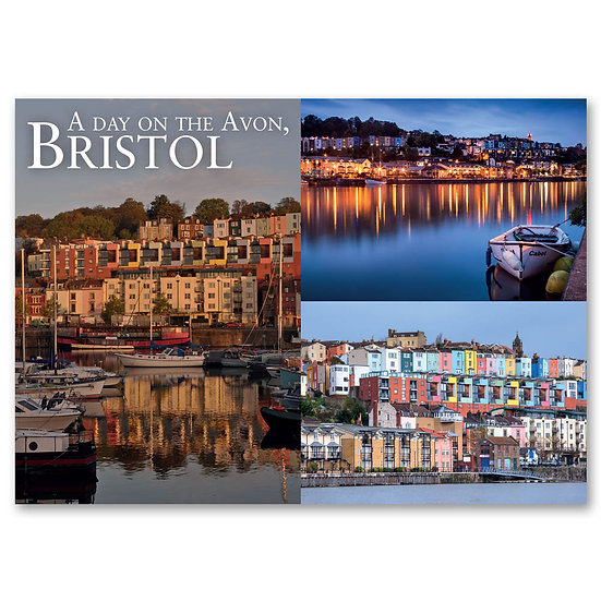 Bristol, A day on The River Avon -3 view - Sold in pack (100 postcards)