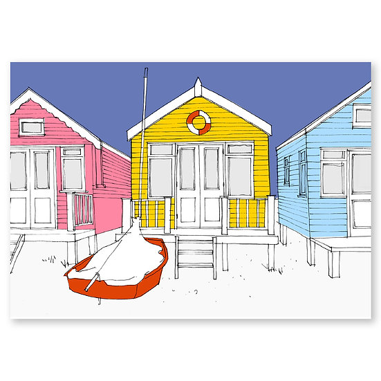 Life's a Beach by Lucy Sheeran : Beach Huts - Sold in pack (100 postcards)
