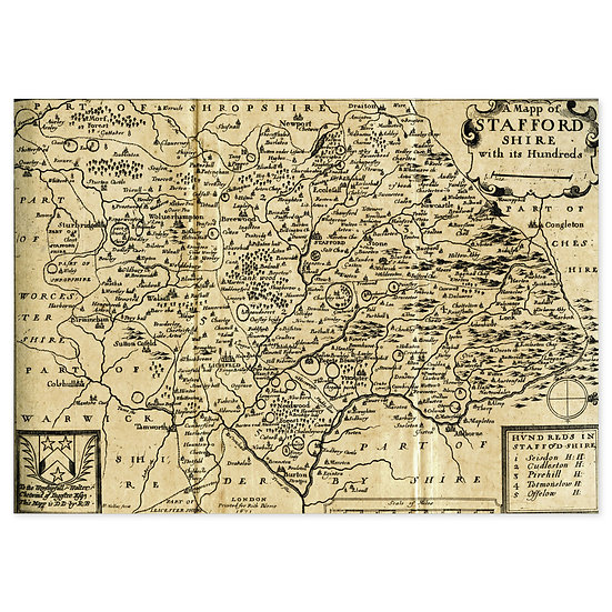 South Staffordshire Map - Sold in pack (100 postcards)