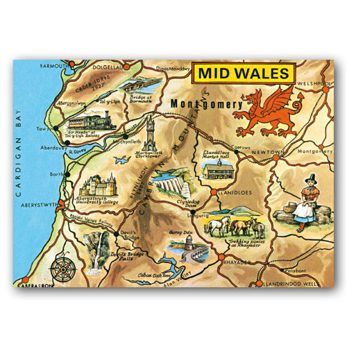 Wales Mid Map - Sold in pack (100 postcards)