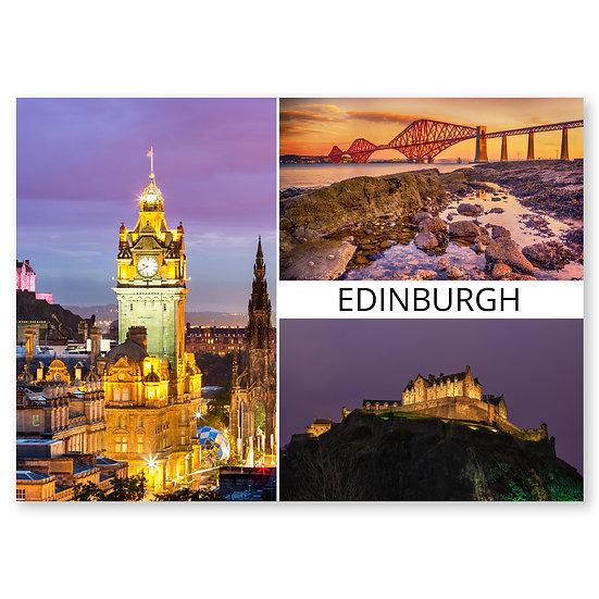 Edinburgh Night-time Scenes 3 composite - Sold in pack (100 postcards)