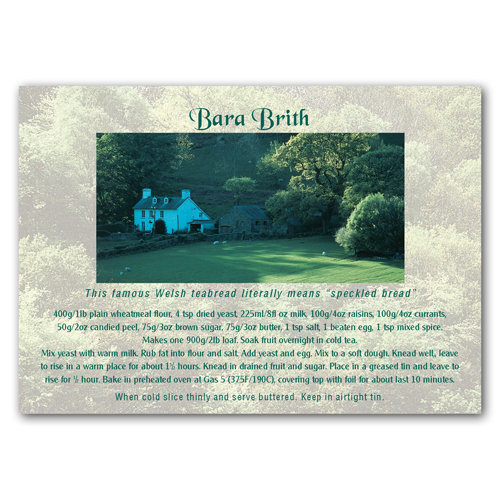 Wales Recipe Card Bara Brith - Sold in pack (100 postcards)