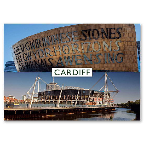 Cardiff, 2 view Composite - Sold in pack (100 postcards)
