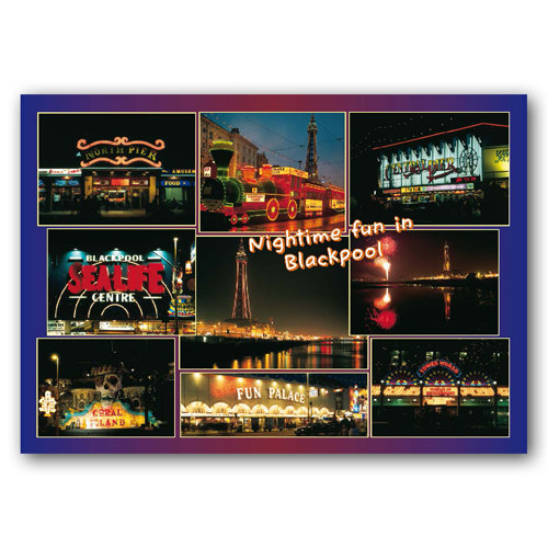 Blackpool Nightime Fun in - Sold in pack (100 postcards)