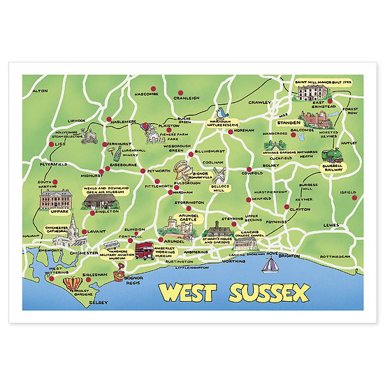 West Sussex Map - Sold in pack (100 postcards)